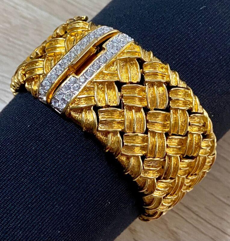 "Nolan Miller Gold Tone Basket Weave and Crystal Cuff Bracelet 7.5"" Long"