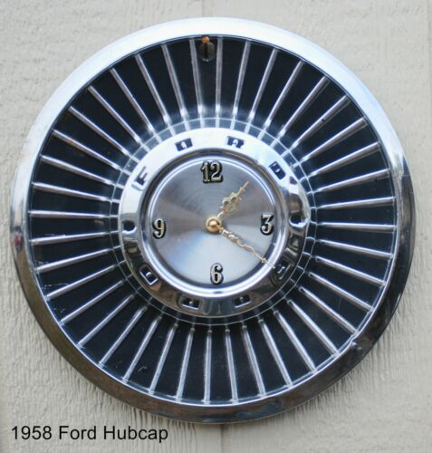 1958 Ford Hubcap battery clock