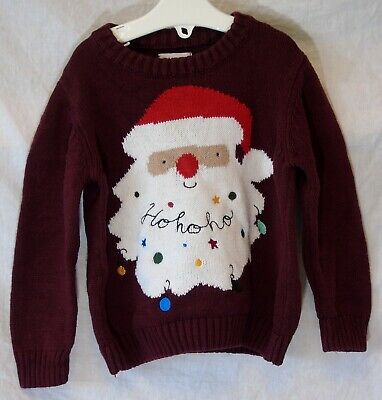 Baby Boys Outfit Maroon Red Father Xmas Ho Ho Ho Festive Jumper Age 18-24 Months