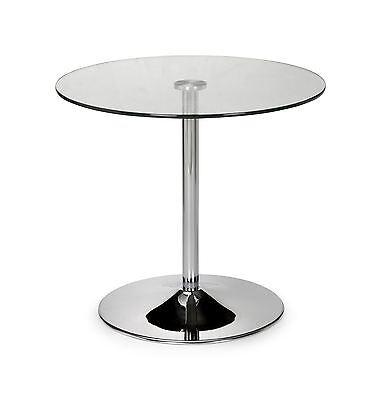 Julian Bowen Kudos Round Pedestal Small Dining Table 80cm Glass & Chrome base