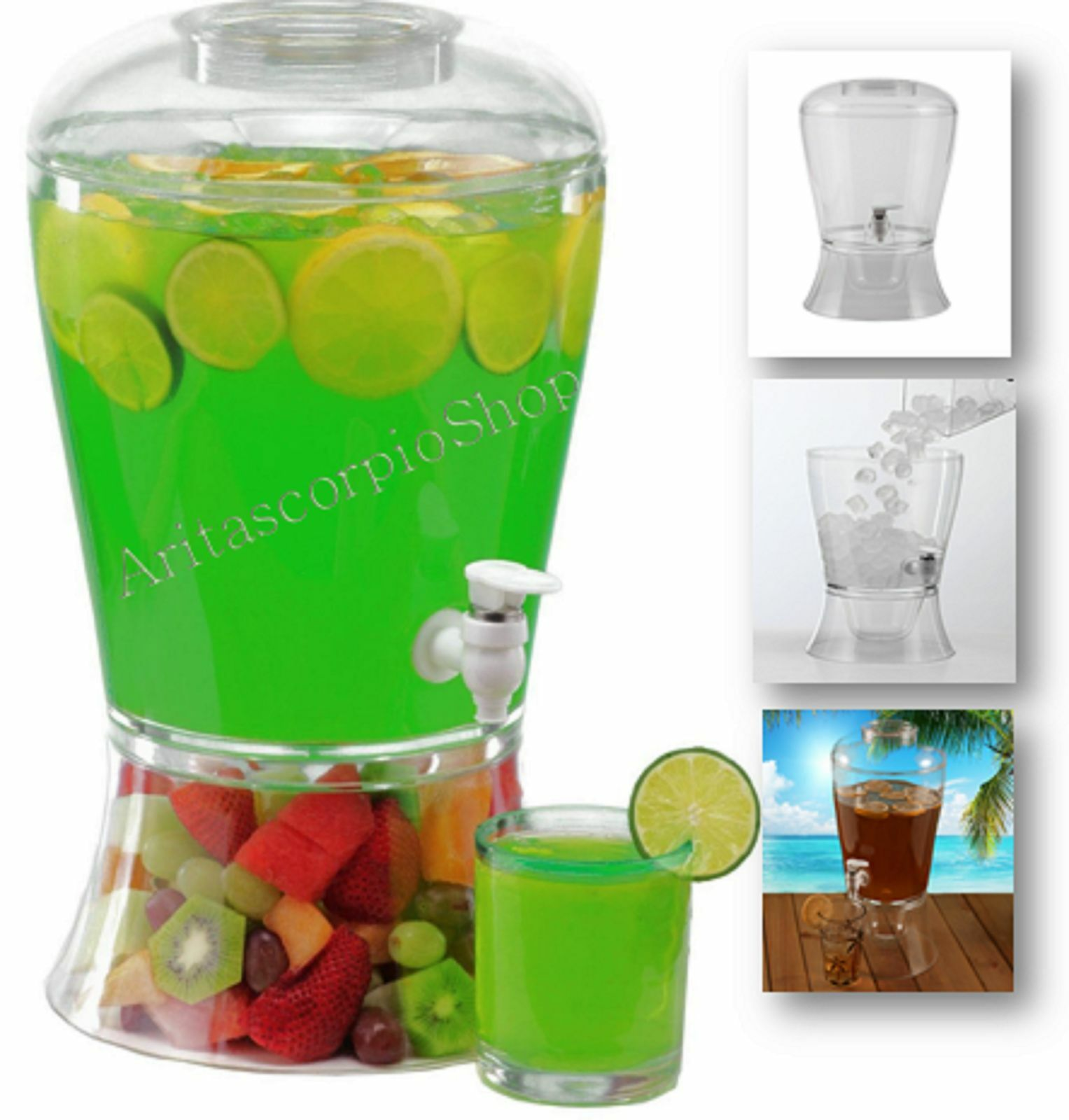 Drink Dispenser Commercial Cold Ice Beverage Juice Party Plactic Clear 2 Gallon