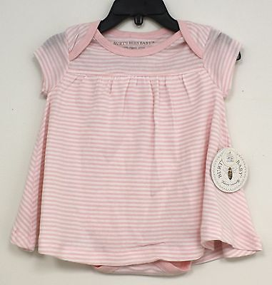 Burts Bees Baby One Piece Outfit White with Pink stripes Dress bodysuit New