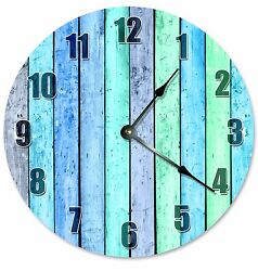 BLUE GREEN WOOD Boards Clock - Large 10.5 Wall Clock - 2180