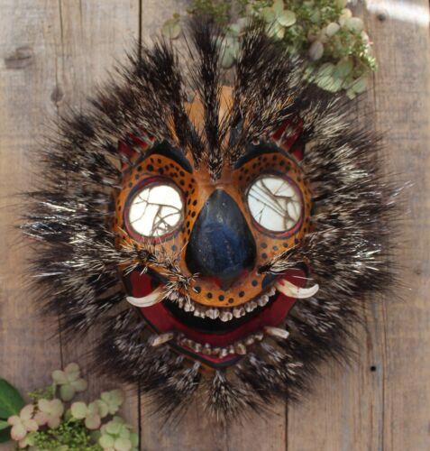 Lg Sz Tiger Mask Mirror Eyes & Boars Hair Handmade Guerrero Mexican Folk Art