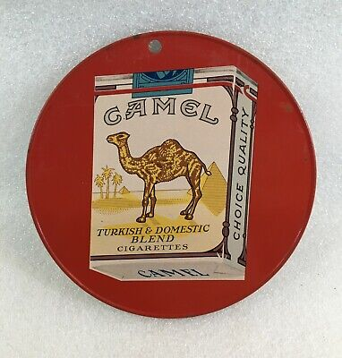 Vintage Camel Cavalier Cigarettes 2-Sided Tin Fan Light Pull Advertising Sign