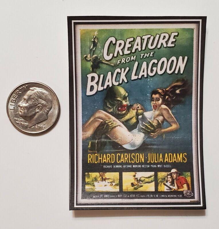 Miniature dollhouse 1/12 Scale poster Old Horror movie Halloween Creature Lagoon