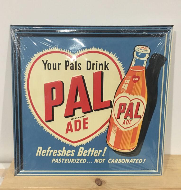 """PAL ADE DRINK"" EMBOSSED METAL ADVERTISING SIGN (17.5""x 17.5"") MAN CAVE GARAGE"