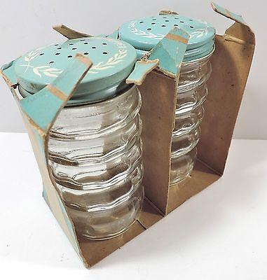 Pr Vtg 1952 Philco Appliances Aqua Key Largo Range Salt + Pepper Shakers
