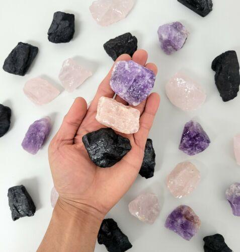Amethyst Crystal Rose Quartz Black Tourmaline Raw Healing Crystals Set Trio