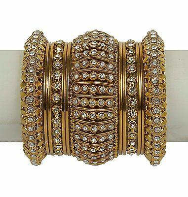 Indian Bangles Jewelry Bollywood Bridal Gold Plated Lovable Antique Design Set (Designer Bridal Jewelry)
