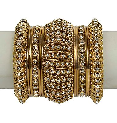 Indian Bangles Jewelry Bollywood Bridal Gold Plated Lovable Antique Design Set Antique Gold Jewelry Set