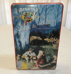 """ARNOTTS BISCUIT TIN """"SANTA AND THE DROVER"""" SEASON GREETINGS 2000 Torquay Fraser Coast Preview"""