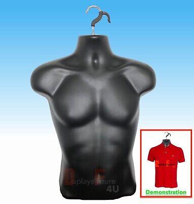 New - Male Mannequin Formhard Plastic Manikin Display Torso Men T-shirt - Black