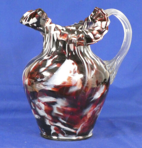 GORGEOUS END OF DAY SPATTER GLASS VICTORIAN PITCHER - LARGE SIZED