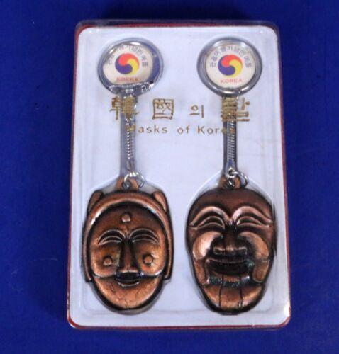 Set of 2 Vintage Korean Masks Metal Keychains