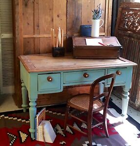 Antique rustic 3 drawer cedar duck egg blue desk Tenterfield Tenterfield Area Preview