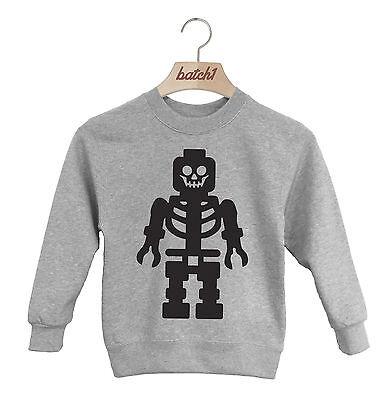 BATCH1 Inoffiziell Lego Skelettaufdruck Halloween Kostüm Kinder Sweatshirt