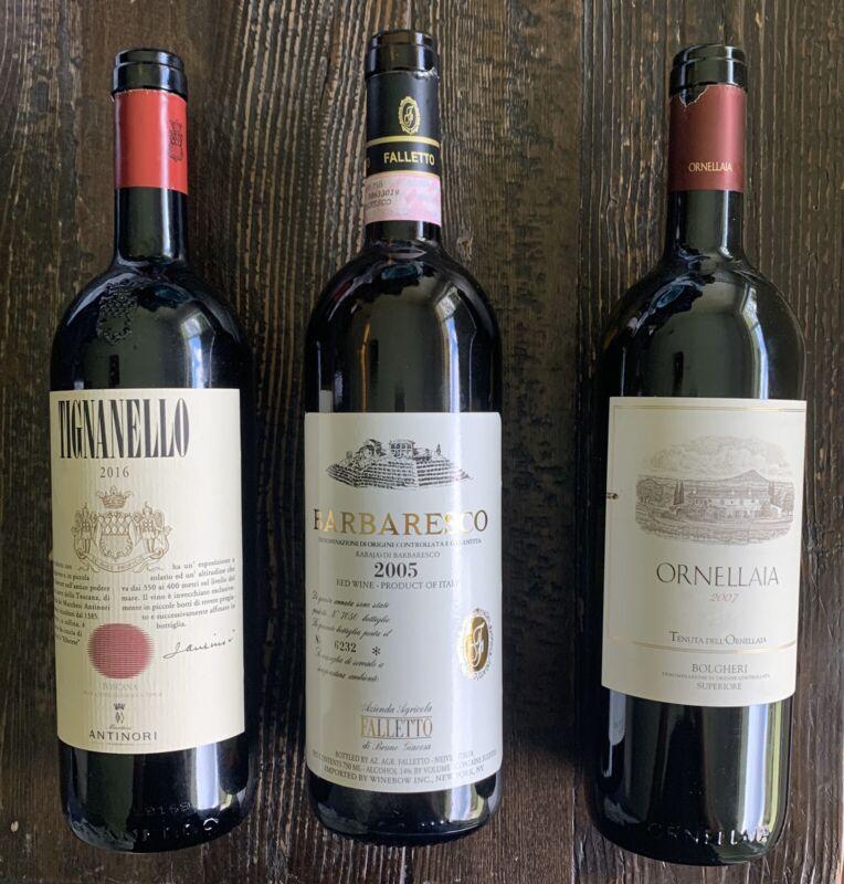 Italian Wine Bottles (3) Empty Collectible Ornellaia Barbaresco Tignaello Italy