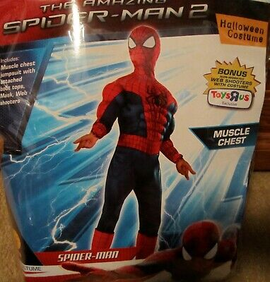 Amazing Spider-Man MUSCLE Costume Peter Parker 8-10 INCLUDES WEB SHOOTERS 610920