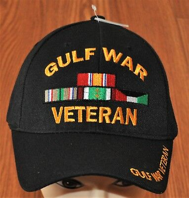 New Black US Military Gulf War Veteran Hat Baseball Ball Cap Army Navy Marines