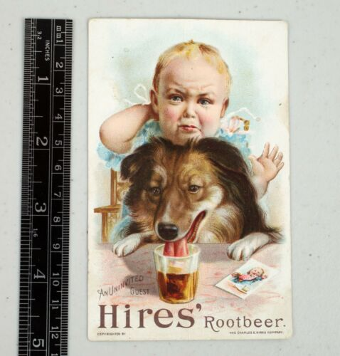 Vintage Victorian Hires Root Beer Trade Card Uninvited Guest Sheltie Dog