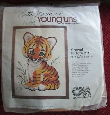 "VTG 1980 CM Columbia Minerva Crewel Tiger Cub KIT 9"" x 12"" Morehead Young'uns"