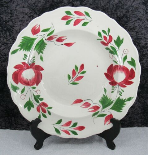 """(2) Antique Staffordshire Early Adams Rose Pearlware 10 7/8"""" Soup Bowls"""