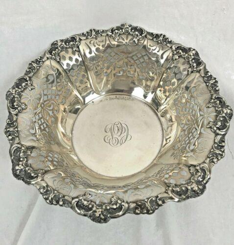 "Pierced Fruit Bowl. Gorham Sterling Silver. A6819. 10"" Diameter. Flower Garlands"