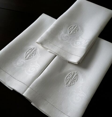 3 UNUSED Vtg Antique Damask Huck Linen Guest Towels Hemstitched w/ Monogram