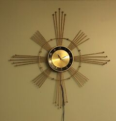 Vintage Mid Century Lux Atomic Starburst Gold Metal Clock Works!