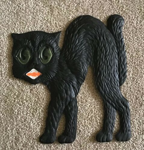 Vintage Halloween Black Cat German Die Cut