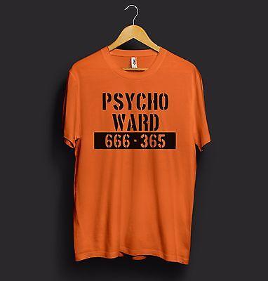 Psycho Ward T Shirt Top Halloween 666 Alcatraz Movie Mental Asylum Prison Orange