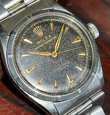 VINTAGE ROLEX OYSTER PERPETUAL 6285 TROPICAL BLACK DIAL BUBBLEBACK WATCH & BAND