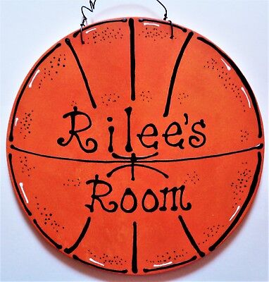 Personalize BASKETBALL Kids NAME Room Door SIGN Decor Sports Wall Hanger Plaque