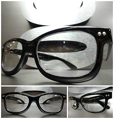 Men's Women CLASSIC 60's VINTAGE NERD Clear Lens EYE GLASSES Black Fashion Frame