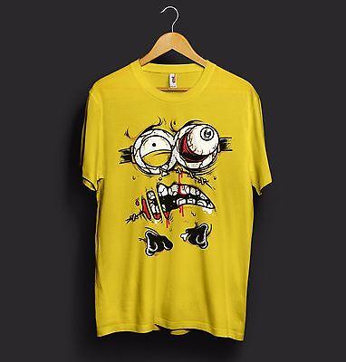 Minion T Shirt Zombie Monster Blood Eyes Stitches Bones Blood Halloween Costume (Minion Costume Shirt)