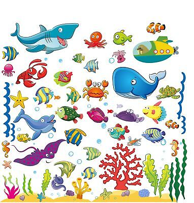 Hunger Games Home Decor Wall Stickers With Under The Sea Design, Peel And Stick Deep Blue Sea Fish