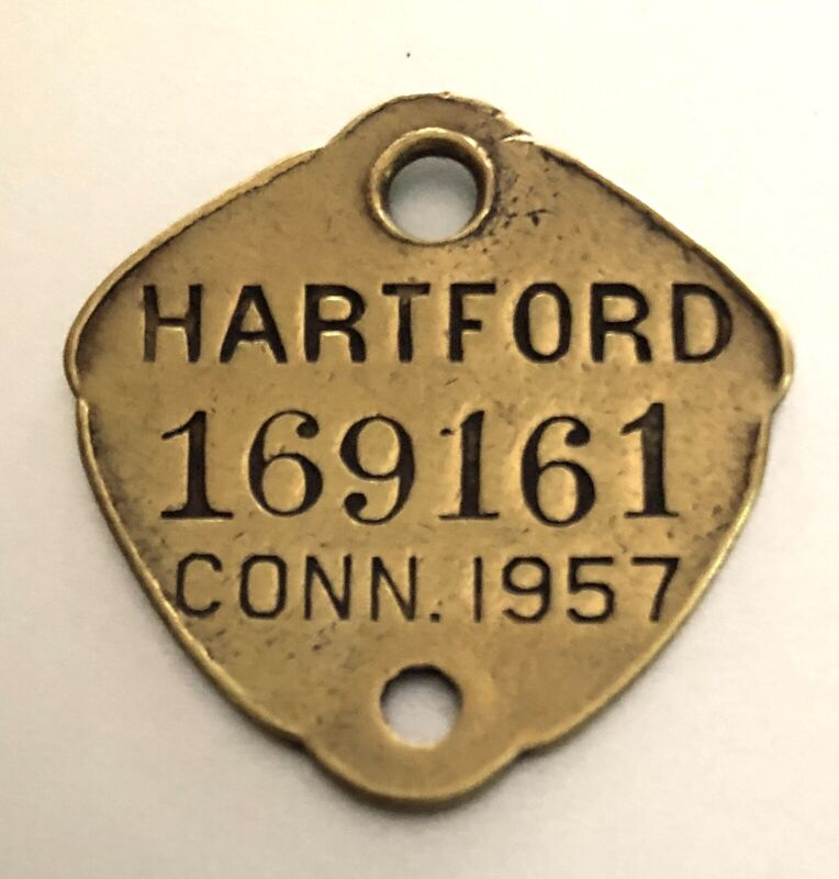 DOG LICENSE Brass Tag: HARTFORD CONNECTICUT Dated 1957