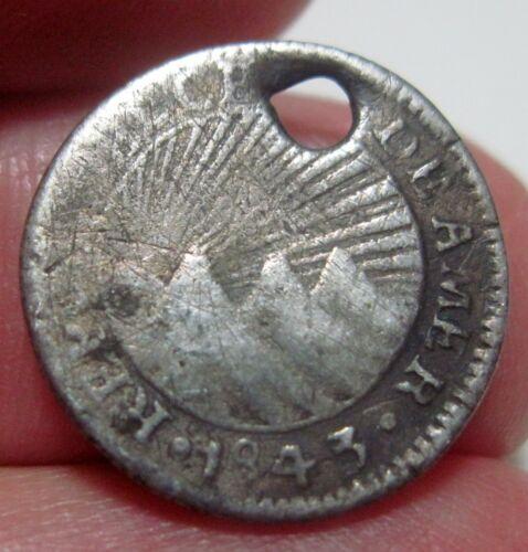 (1843 CR-M (COSTA RICA) 1/2 REAL (SILVER)  CENTRAL AMERICAN REPUBLIC -RARE-