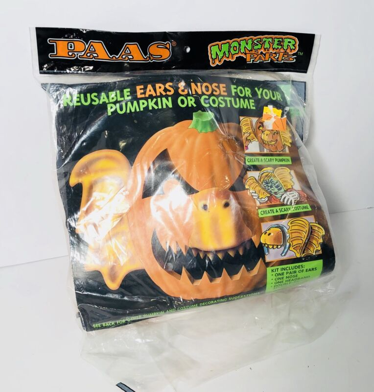 Vintage PAAS Monster Parts Reusable Ears And Nose For Pumpkin Or Costume 1993