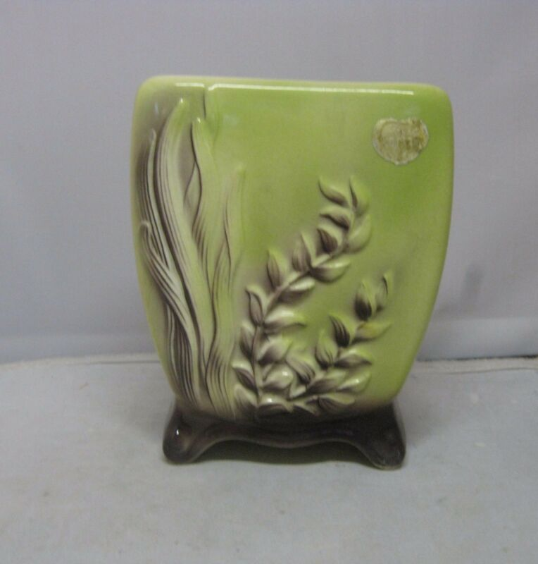 Vintage Royal Copley Chartreuse and Brown Seaweed Footed Vase Planter Labeled