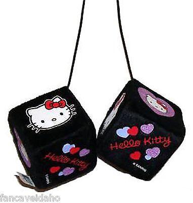 Sanrio Hello Kitty Hearts Design Rear View Mirror Fuzzy Dice Car Ornament