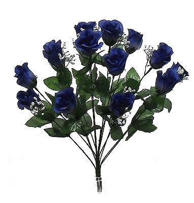 14 Long Stem Roses Buds ~ Dark Blue ~ Silk Wedding Flowers Centerpieces Bouquets