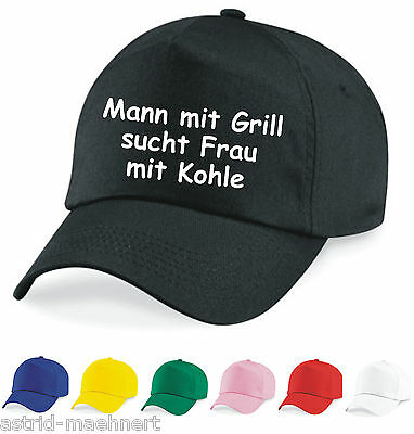 Base Cap - Mann mit Grill sucht Frau mit Kohle -  Mütze - Sprüche - Neu - Kappe