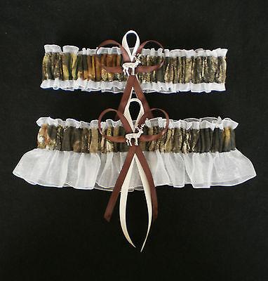 Mossy Oak Ivory Wedding Garter Set Camo Deer Charms Hunting Hunter & Plus - Camo Garter Set