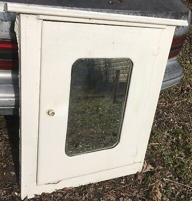 Antique Wood Recessed Medicine Cabinet W Beveled Mirror Cupboard Old Bathroom