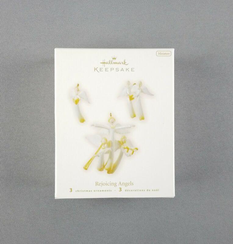 """Hallmark 2008 Keepsake Christmas Miniature Ornaments Set of 3 """"Rejoicing Angels"""""""