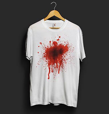 Blood T Shirt Splat Shot Accident Injured Gun Shoot Prank Halloween Horror](Top Halloween Pranks)