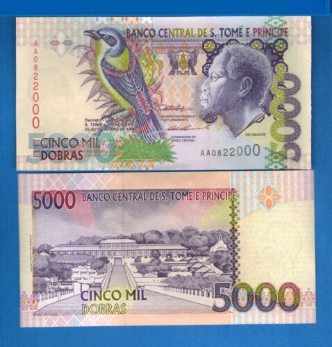 Saint Thomas & Prince P-65 5000 Dobras Year 1996 Uncirculated Banknote