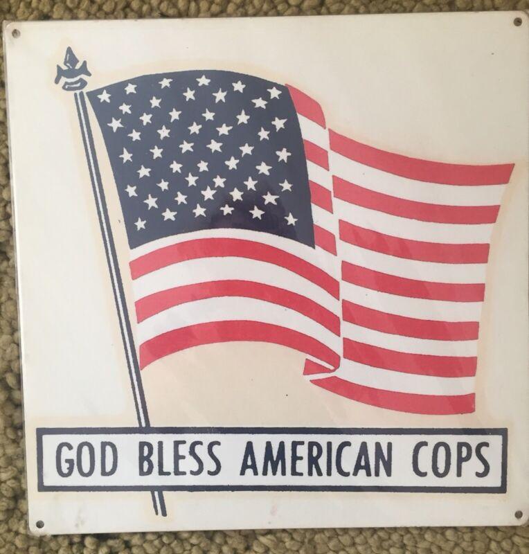 God Bless American Cops Police PD NAPO Cop Law Enforcement Vintage Steel Sign